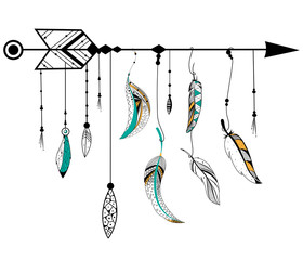 Arrow and feather for Tribal boho style