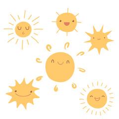 Set of cute hand-drawn sun icons.