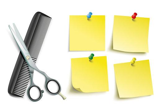 Scissors Comb 4 Yellow Sticks Colored Pins