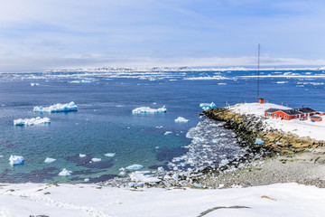 View from the old harbor to the Nuuk fjord, Greenland