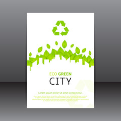Vector design green and white flyer and poster with place for text. Vector template of brochure for your business in A4 size. Illustration on ecology theme.