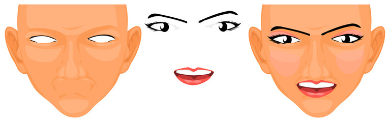 Blank face for create your own emotion are makeup with your self