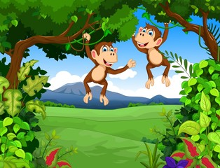 monkey cartoon with landscape background