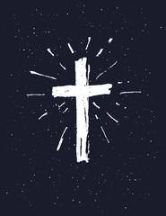 Hand drawn white grunge cross.