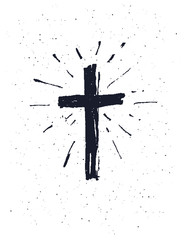 Hand drawn black grunge cross.