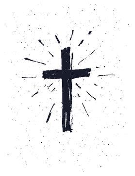 Hand drawn black grunge cross.