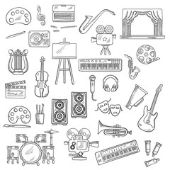 Entertainment and visual arts sketch icons