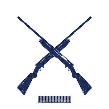 crossed hunting rifles, shotguns, shells on white, vector illustration