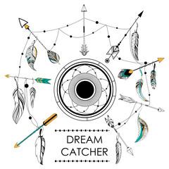 Dream Catcher in Tribal boho style background
