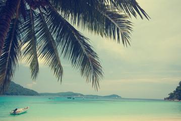 Retro beach and blue sky for summer background