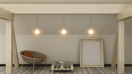 Empty picture frame on the loft in modern home cozy interior. Copy space image. Wooden pallets furniture . 3d render.