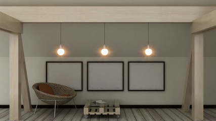 Empty picture frames on the loft in modern home cozy interior. Copy space image. 3d render.