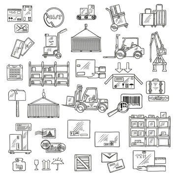 Logistics, storage and delivery sketches