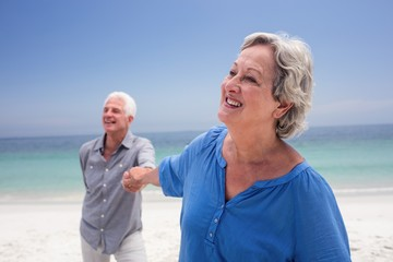 Happy senior couple holding hand on the beach