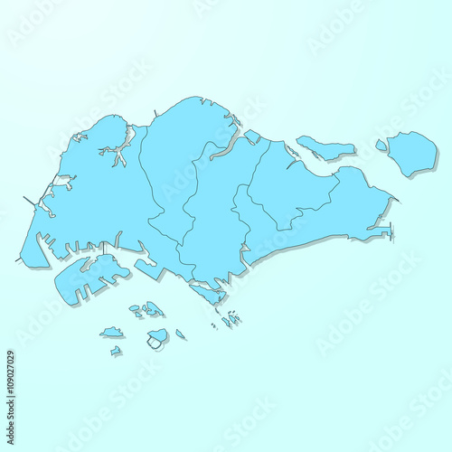 Singapore blue map on degraded background vector\