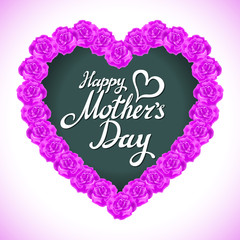 pink rose mother Day Heart Made of purple Roses Isolated on White Background. Floral heart shape vector background