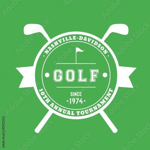 Golf Tournament round badge, sign with crossed golf clubs, white on on golf t-shirt logo design, baseball skull tattoo design, golf club embroidery design,
