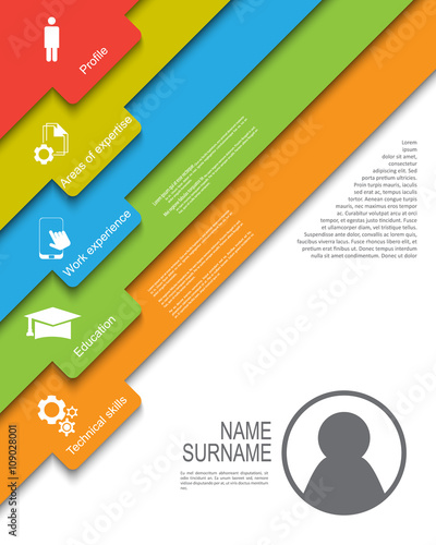 u0026quot resume    cv template design with tabs    ribbons   tags
