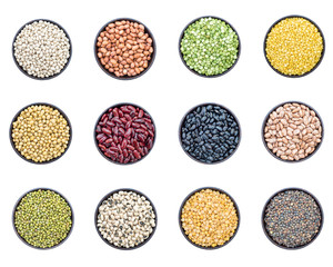 Mixed beans and lentils in bowl isolated on white background