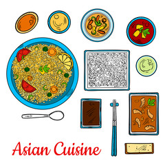 Asian cuisine sketch with seafood and rice dishes