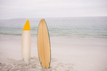 Two surfboard standing in sand