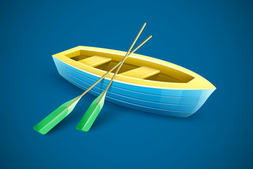 Wooden boat with paddles for fishing or kayaking extreme sports