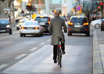 Fototapete - Rear view of bicyclist in full gear