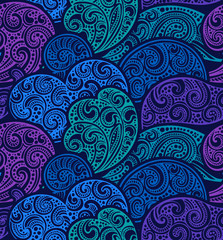 Seamless pattern with hand drawn doodle sea waves.