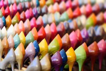 Rows of colorful shoes