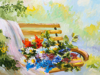Oil Painting, bouquet of flowers on the bench