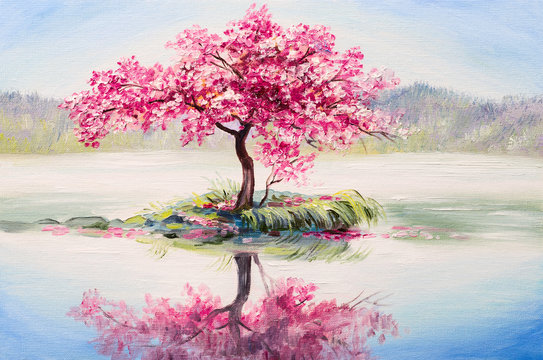 oil painting landscape, oriental cherry tree, sakura on the lake
