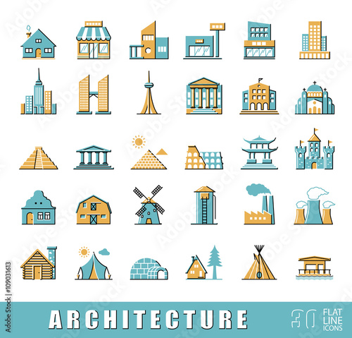 Buildings And Architecture Icons Set Various Styles And Building