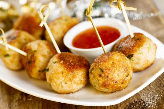 Turkey meatballs with sweet chili sauce