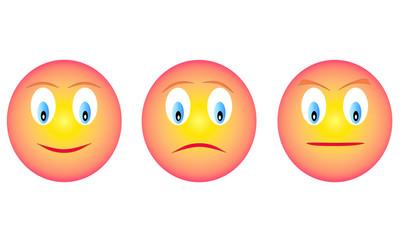 Threee emoticons, happy, sad, andry