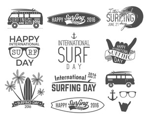 Summer surfing day graphic elements. Vector Vacation typography emblems set. Surfer party with surf symbols - shaka sign, rv style car, board graphic, palms. Best for web design or print on t-shirt