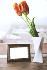 tulips and picture frame