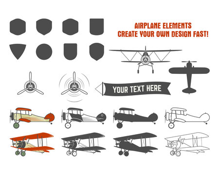 Vintage airplane symbols. Biplane vector graphic labels. Retro Plane badges, design elements. Aviation stamps vector collection. Fly propeller, old icon, shield isolated on white background