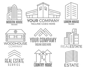 Set of vector house logo designs, real estate icon suitable for info graphics, websites and print media. Vector, flat icon, badges, labels, clip art. Lineart style. Thin line design