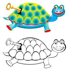 Colorful and black and white pattern turtle, vector cartoon image.