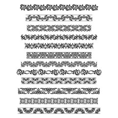 Thai ornament border patterns with vector thai floral motifs