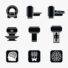 Medical MRI scanner diagnostic. Vector icons
