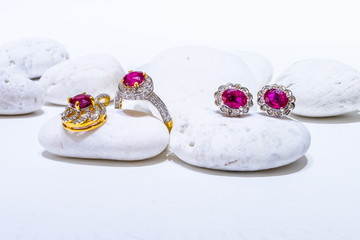 jewelry ruby set,ring pendant and earrings set