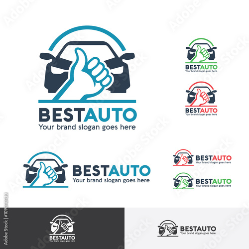 Best Car Logo Template With Thumb Up Symbol Stock Image And Royalty