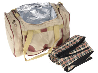 bag for a picnic on a white background. isolate