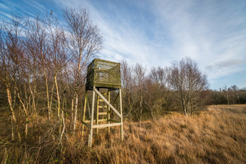 Hunting tower with a ladder
