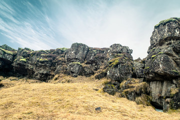 Amazing cliffs in Thingvellir national park