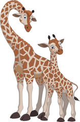 Giraffe and cub