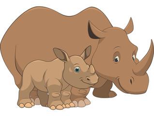 .Adult rhino and baby
