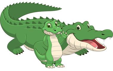 Adult and baby crocodile