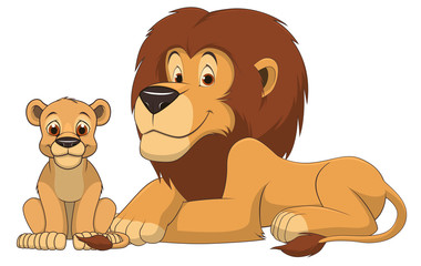 Adult lion and a child